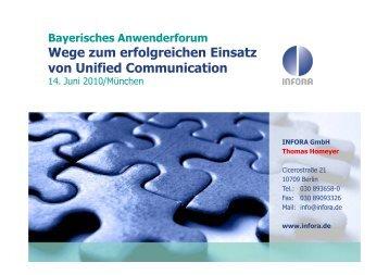Bayerisches Anwenderforum Wege zum erfolgreichen Einsatz von ...