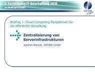 Zentralisierung von Serverinfrastrukturen - INFORA Tagungsplaner