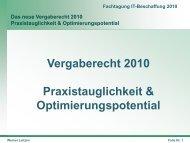 Das neue Vergaberecht 2010 Praxistauglichkeit ...