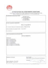 ATTESTATION DE CONFORMITE SANITAIRE - Caprari