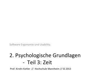 2. Psychologische Grundlagen -‐ Teil 3: Zeit
