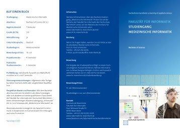 """Flyer """"Bachelor Medizinische Informatik"""" - Fakultät für Informatik ..."""