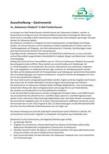 Ausschreibung Gastronomie im - Bad Frankenhausen