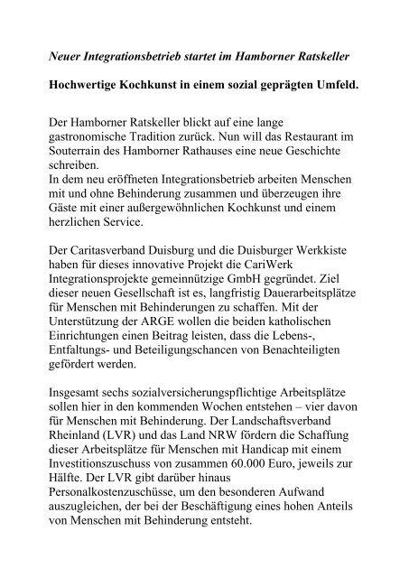 Neuer Integrationsbetrieb startet im Hamborner Ratskeller ...