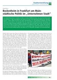 Bockenheim in Frankfurt am Main: städtische Politik im ...