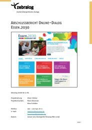 Auswertungsbericht Online-Dialog Essen.2030