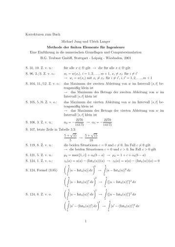 Korrekturen zum Buch Michael Jung und Ulrich Langer Methode der ...