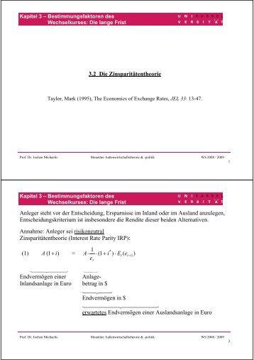 3.2 Die Zinsparitätentheorie Anleger steht vor der Entscheidung ...
