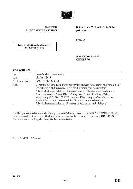 8835/13 - Öffentliches Register der Ratsdokumente - Europa