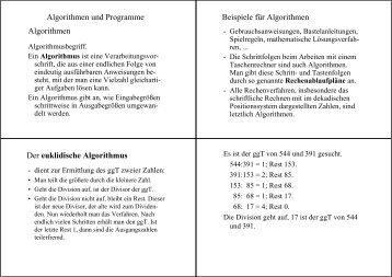 Algorithmen und Programme Algorithmen Beispiele für Algorithmen ...