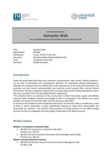 Semantic Web - Fakultät für Informatik, TU Wien