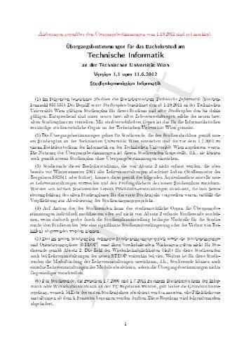 Änderungen gegenüber 2011 - Fakultät für Informatik, TU Wien