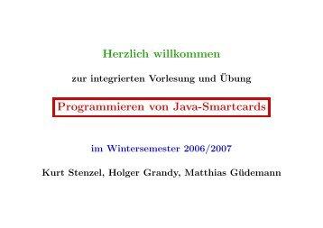 Herzlich willkommen Programmieren von Java-Smartcards