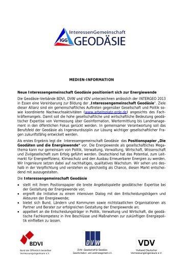 MEDIEN-INFORMATION Neue Interessengemeinschaft ... - DVW
