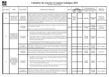 Calendrier des concours et examens professionnels techniques 2014