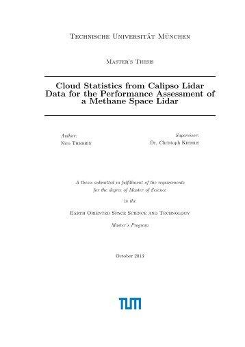 Cloud Statistics from Calipso Lidar Data for the ... - espace-tum.de