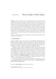 Notes on Logics of Metric Spaces - FB3 - Uni Bremen