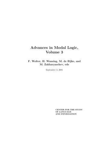 Advances in Modal Logic, Volume 3