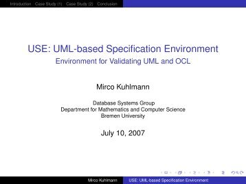 USE: UML-based Specification Environment - Environment for ...