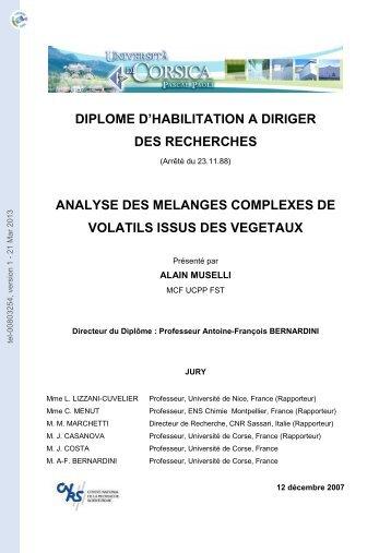Analyse des mélanges complexes de volatils issus des végétaux.