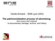 The patrimonialization process of advertising - Source - Hypotheses