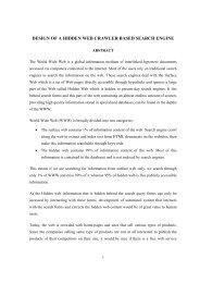 design of a hidden web crawler based search engine - Shodhganga