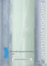 Verwaltungsnachrichten 1/2013 - KOPS - Universität Konstanz