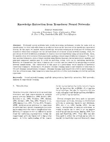 Knowledge Extraction from Transducer Neural Networks