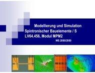 Modellierung und Simulation Spintronischer Bauelemente / S LV64 ...