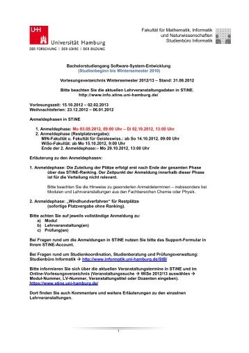 VV BSc SSE bis WiSe 2010 - Fachbereich Informatik