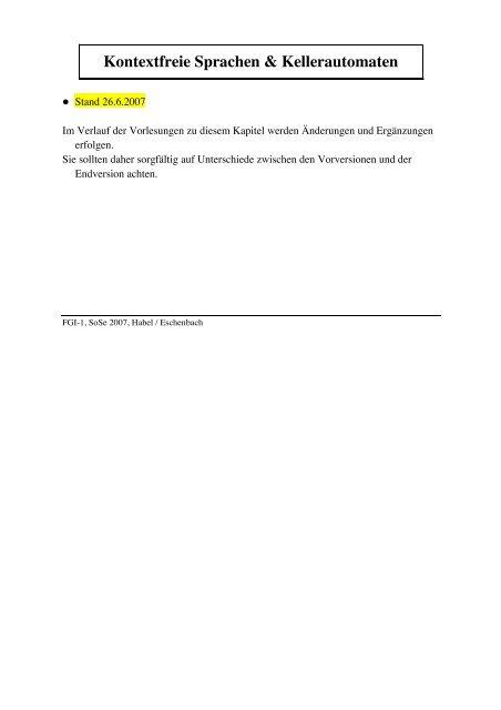 Kontextfreie Sprachen & Kellerautomaten