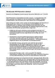Strukturelle HIV-Prävention stärken! - Deutsche AIDS-Hilfe e.V.