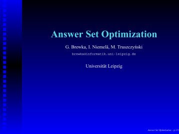 Answer Set Optimization