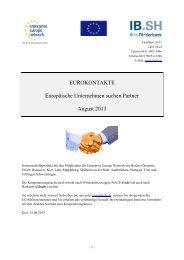 Eurokontakte August 2013 - Investitionsbank Schleswig-Holstein