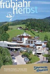 Preisliste Frühjahr / Herbst 2013 - Sporthotel Wagrain