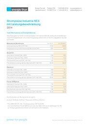 Preisblatt Strom Industrie NE 5 mit ... - Energie Thun