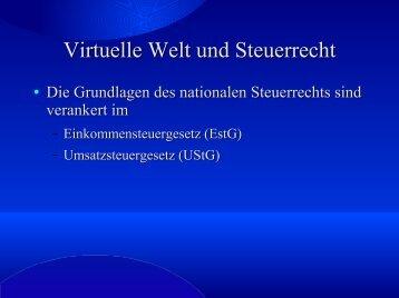 Virtuelle Welt und Steuerrecht