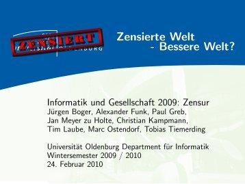 Zensierte Welt - Department für Informatik - Universität Oldenburg