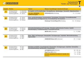 Termin- und Themenplan 2014 - Giesserei