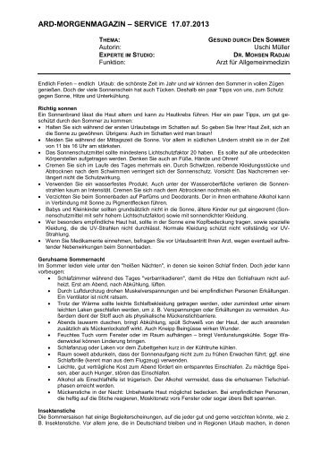 Gesund durch den Sommer (PDF) - Das Erste