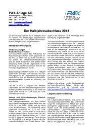 Halbjahresbericht. - Pax Schweizerische Lebensversicherungs ...