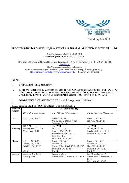 KVV WS 13-14 - Hochschule für Jüdische Studien Heidelberg