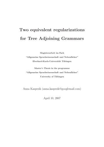 Two equivalent regularizations for Tree Adjoining ... - Universität Trier