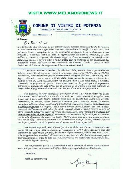 Vietri, il Sindaco risponde ai 400 firmatari della petizione Tares/Tarsu