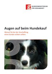 Augen auf beim Hundekauf - Bundesministerium für Gesundheit