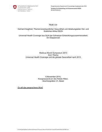 Rede von Gerhard Siegfried, Themenverantwortlicher ... - Deza