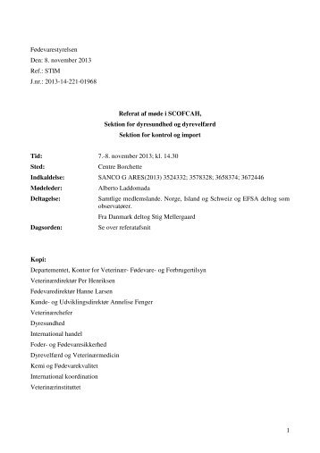 Referat SCOFCAH 7-8 Nov - Fødevarestyrelsen