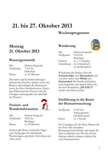 Wochenprogramm 21. bis 27. Oktober 2013 - Hotel Hochschober