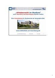 """""""Urheberrecht im Studium"""" - Informationskompetenz"""