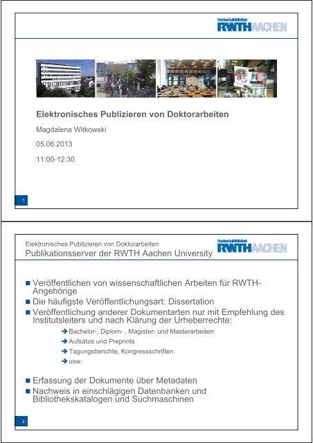 veröffentlichung dissertation rwth